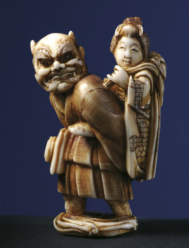 Oni Lot 435 Oni No Nembutsu in monk's garments carrying a drum in his belt and carrying princess Fujihime on his back, who is holding the symbol of youth and spring on her shoulder. (2).jpg